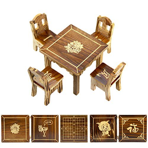 Gracefulvara Wooden Toy Dollhouse Miniature Furniture Mini Dining Room, 1pc Table & 4pcs Chair (Miniature Wooden Furniture)