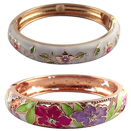 y Butterfly Flower Cloisonne Enamel Colorful Open Hinge Bangles Bracelets Set 88A12-55A82 white ()