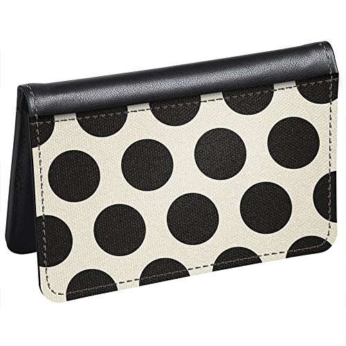 Snaptotes Slim Leather Accent Black Polka Dot ID Card Wallet