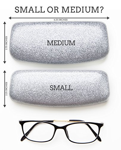 Poetic Pink Small Premium Fashion Women's Hard Eyeglasses Case | Smooth Glitter | Bonus Cleaning Cloth
