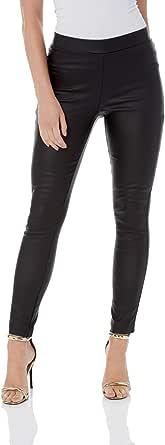 Roman Originals Pantalones largos de piel sintética para mujer - Elegantes y casuales para ocasiones formales, elásticos, para salir por la noche