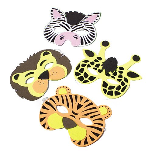 Wild Animal Foam Masks, (12) assorted masks - Jungle Animal Foam