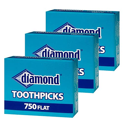 Diamond Flat Toothpicks 750ct, 3 Pack