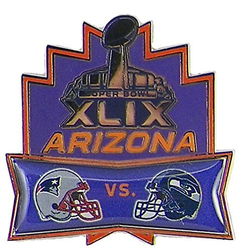 NFL Seattle Seahawks vs New England Patriots Head to Head Pin, 1.5 x 1.5-Inch, Purple