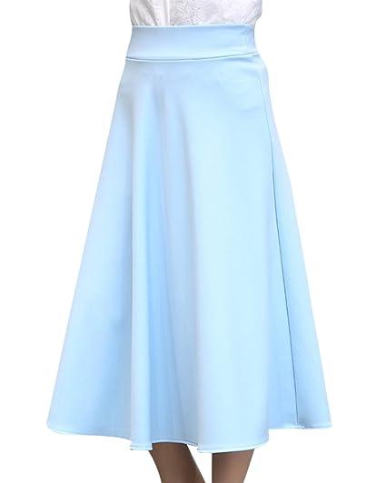ZiXing Falda Mujer Elástica Plisada Vintage Falda Midi Plisada A ...
