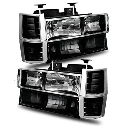 Chevy Fullsize 88-98 Crystal Headlight Black W/ Signal & Side Marker - Crystal Anzo 98 Headlights