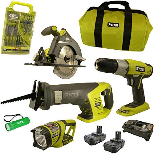 Ryobi Cordless Super Combo Bundle, P883 18-Volt ONE+ Lithium-Ion includes Drill/Driver, Reciprocating Saw, Circular Saw, Worklight, Drill Bit Set, Charger, (2) Batteries, Buho Flashlight