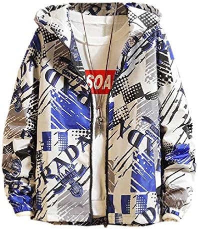メンズフード付き防水ジャケット ジップアップウィンドブレーカープリントジャケットコート