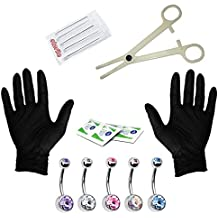 Body Piercing Kit 14G Professional Piercing Kit for Belly Button 14 Gauge - 15 Pieces