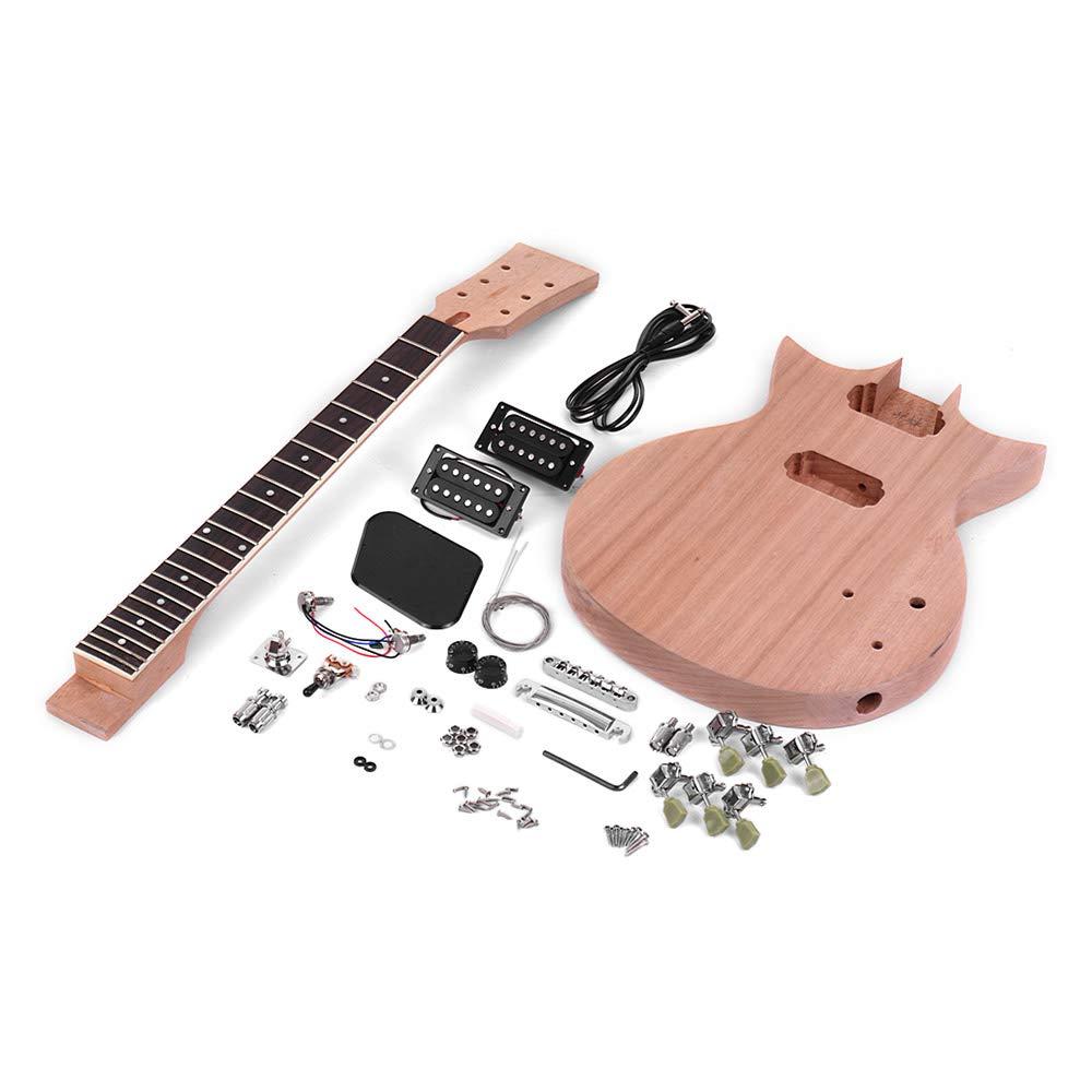 Festnight Unfinished DIY Electric Guitar Kit Mahogany Body /& Guitar Neck Rosewood Fingerboard
