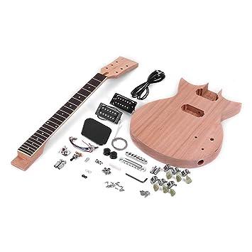 Festnight DIY Kit de Guitarra Eléctrica, Accesorios de Guitarra No Terminados Pastilla del Diapasón Cuerpo