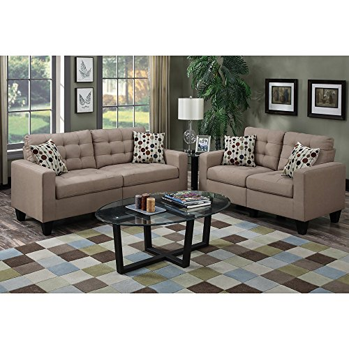 Modern Sofa And Loveseat In 2 Piece Set With Tufted Seat and Toss Pillows With Removable Legs plus FREE GIFT (Sand)