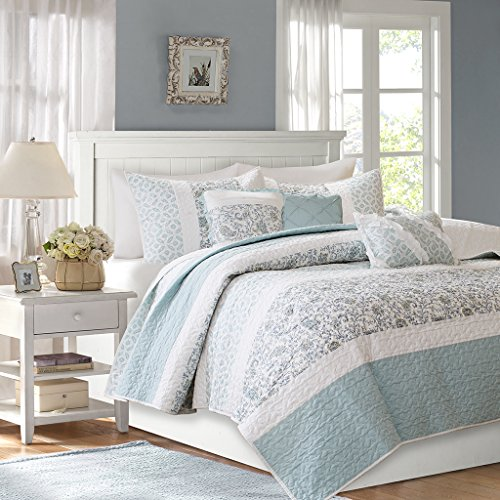 - Madison Park MP13-2802 Dawn 6 Piece Cotton Percale Quilted Coverlet Set, Blue