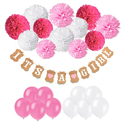 Baby Shower Decorations, Cocodeko IT IS A GIRL Paper Garland Bunting Banner with 12pcs Paper Pom Poms and 20pcs Latex Balloons for Christening Baby Shower Garland Decoration Birthday Party (Red Rose Tea Nursery)