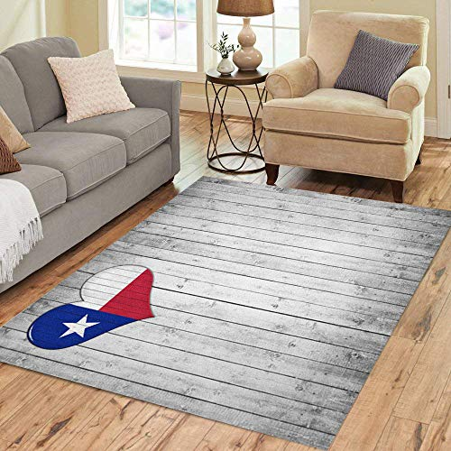 (Pinbeam Area Rug Blue Houston Texas Flag Heart and Wood Red Home Decor Floor Rug 5' x 7')