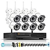 Jennov Security Camera System Wireless, 8CH 1080P Wireless Security Camera NVR System with WiFi Audio Home Video Surveillance IP66 Outdoor CCTV IP Network Cameras Day Night Vision (No Hard Drive) For Sale