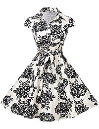 Women's Retro Vintage 1950s Style Cap Sleeve Swing Party Dress