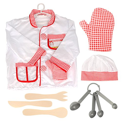 TOPTIE Children Chef Costumes, Cook Role Play Costume Set-Red-S