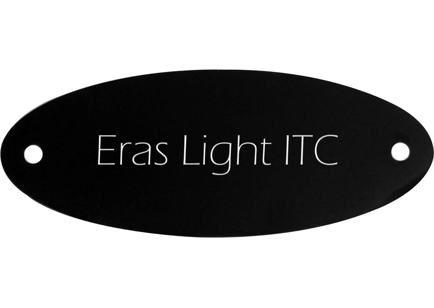 Kopierladen Targa appartamento con testo a piacere, plastica nera, 11,5 x 4,5 cm, ad arco, testo inciso bianco, carattere: Eras Light ITC