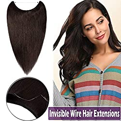 22 Inch Human Hair Hidden Crown Wire Extensions Secret Hairpieces Long Straight No Clips No Glue Invisible Hair Extensions Fish Line in 75g #2 Dark Brown