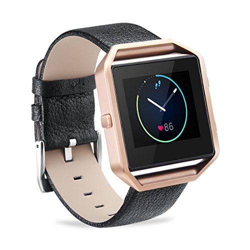 GinCoband Fitbit Blaze bands,Genuine Leather bands with Frame for Fitbit Blaze Smart Fitness Watch,NO Tracker