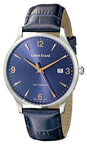 Louis Erard Men's 69219AA15.BDC84 1931 Analog Display Automatic Self-Wind Silver-Tone Watch With Blue Leather Band