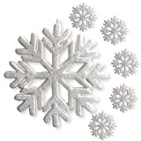 Large White Glittered Snowflakes - Set of 6 Foam Snowflake Ornaments with White Ribbon - Approximately 9'' In Diameter - White Glittered Decorations - Christmas Decor