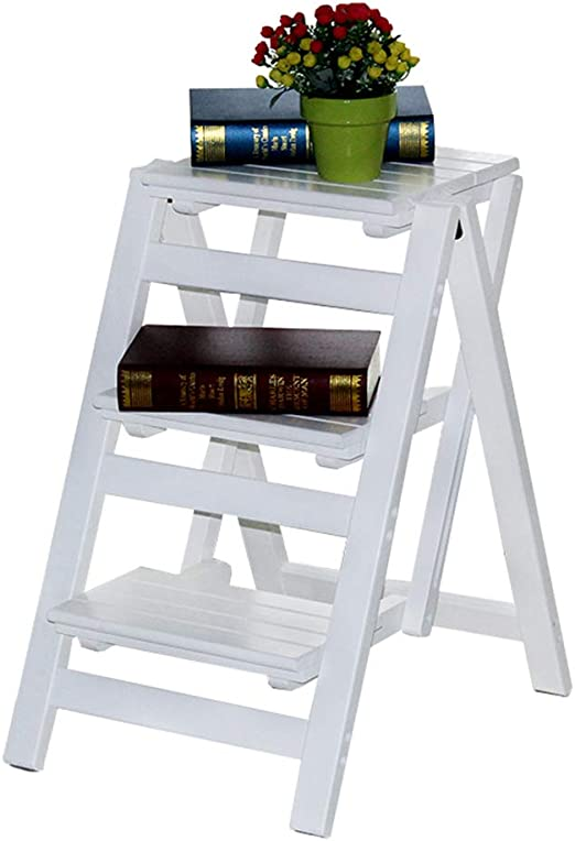 Taburete de Escalera Plegable de Madera Maciza Blanca Taburete multifunción de 3 Capas Hogar Cocina Biblioteca Estante de Flores/Banco de Zapatos/Estante de Almacenamiento, 150 kg: Amazon.es: Hogar