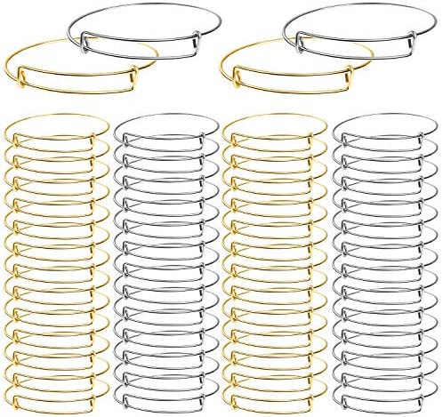 UPINS 60Pcs Expandable Bangle Bracelets DIY Jewelry Making Blank Bracelets Women Adjustable Wire Bracelets, Silver & Gold