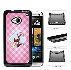 Pink Plaid Pattern with Cute Floral Deer Diamond Center Design HTC one M7 Hard Snap on Plastic Cell Phone Case Cover