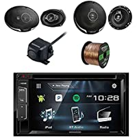 Kenwood DDX24BT Multimedia Receiver, Bluetooth with Kenwood Rearview Wide Angle View Camera, Kenwood 6.5 3-way 320W Car SPKR(Pair), Kenwood 6X9 5-Way SPKR 650W(Pair) & Enrock 16G 50 SPKR Wire