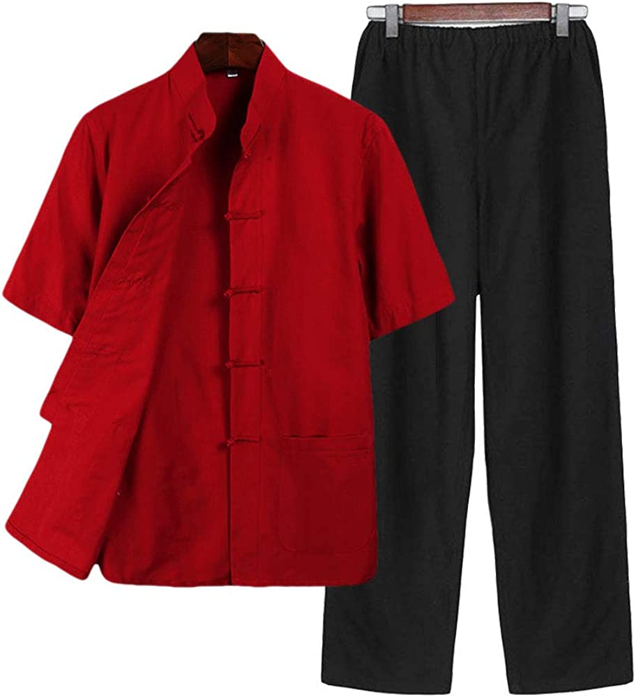 Traditional China/Costume Male Martial Arts Tangzhuang Kung Fu Short Sleeve Jacket Suits Shirt Outfit Uniform Cloth Pants for Men G-like Chinese Clothing Tang Suit kungfu costume