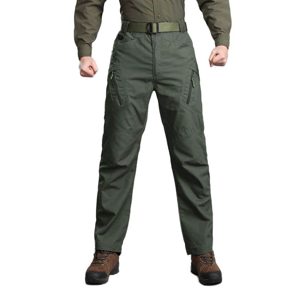 HTHJSCO Men's Casual Cargo Pants, Tactical Military Army Combat Outdoors Work Trousers (Army Green, XXXXL) by HTHJSCO