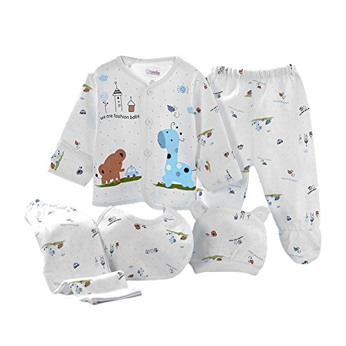 MIOIM Newborn Baby Layette Set Boys Girls Cotton Clothes Tops Hat+Pants Suit Outfit Sets 5PCS 0-3M (Blue1)