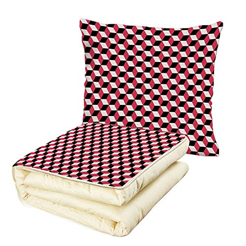 (Quilt Dual-Use Pillow Abstract Geometric Cube Prisms Flat Ornament Retro Minimalist Fashion Grid Pattern Decorative Multifunctional Air-Conditioning Quilt White Red Black)