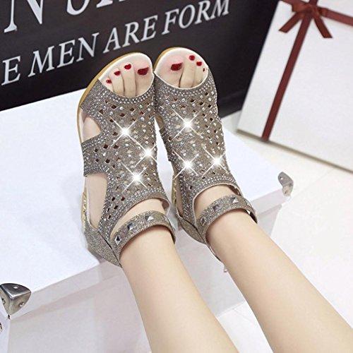 de Las Verano Sandalias Moda de de Cu Diamantes Primavera de Huecas Mouth Mujeres Roma Sandalias Imitaci a Fish Hollow Sky Shoes 6XCHqw