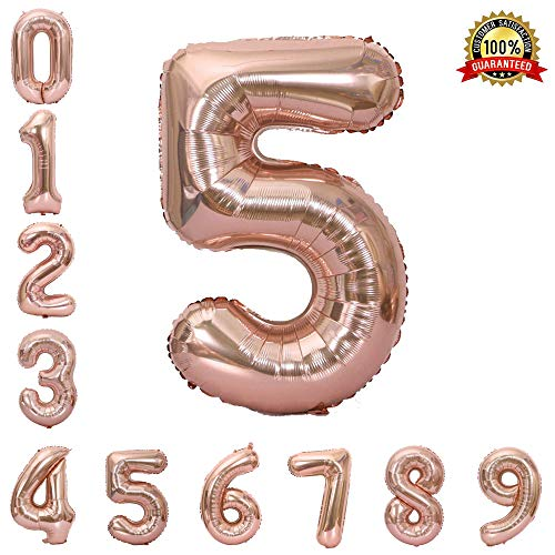 Hotshots2019 40 Inch Large Rose Gold Balloon Number 5 Balloon Helium Foil Mylar Balloons Party Festival Decorations Birthday Anniversary Party Supplies]()