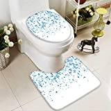 aolankaili Toilet Carpet Floor mat Technology Pattern Composed of Blue Squares Vector Background 2 Piece Shower Mat Set