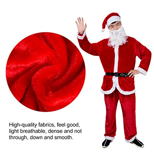 Christmas Santa Claus Costume Set Men's Deluxe Santa Suit (Tall And Short Costumes)