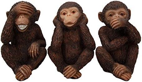 Solid Brass Figurine See No Evil Hear No Evil Speak No Evil Monkeys Tiny 2 58\u201dwide x 2\u201dtall x 1 18\u201d deep