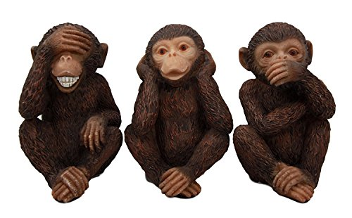 Wise Monkeys See Hear Speak No Evil Ape Chimpanzees Collectible Figurine Miniature Set