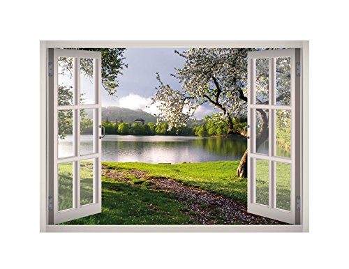 Flower Garden Landscape Window 3D Wall Decal Art Removable Wallpaper Mural Sticker Vinyl Home Decor West Mountain W43 (SMALL (24''W x 17''H))