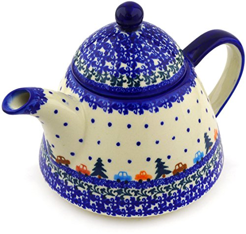 Polish Pottery 38 oz Tea or Coffee Pot (Holiday Drive Theme) + Certificate of Authenticity (Oz 38 Coffee Pot)