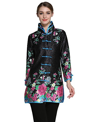 Bitablue Womens Bubble Crinkle Fabric Flower Print Chinese Long Shirt (Small) Black