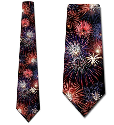 Fireworks Ties Patriotic Necktie 4th of July by Three Rooker