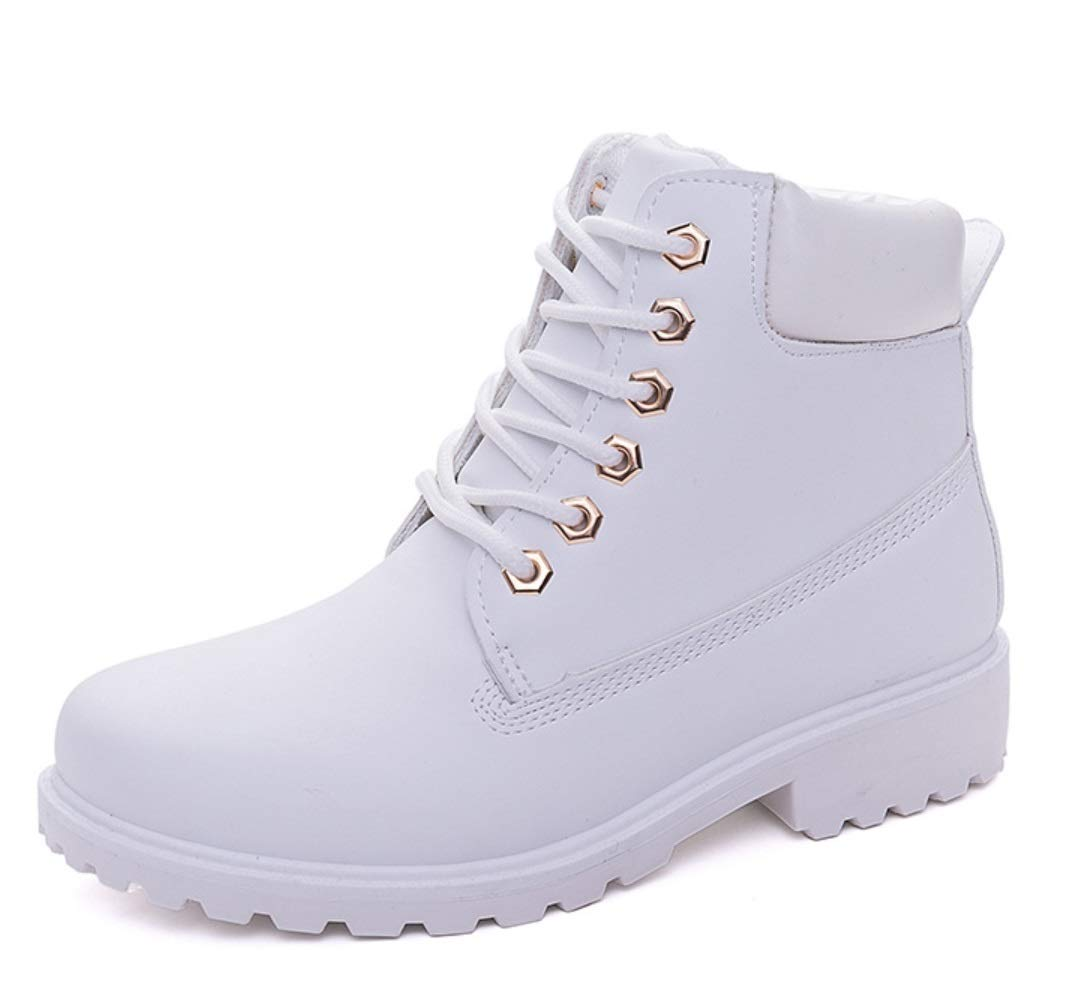 Women's Outdoor Hiking Shoes Single Boots Women's PU Boots Women's Flat Large Size Pink Martin Boots Women's Boots Warm Boots (Color : White Plus Velvet, Size : 37) LIANGXIE