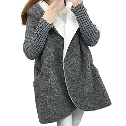 Cardigan Oversized Sweater wool Hooded Lady Loose Long Coat Women Grey Knitted Sleeve cOtXx0Wqw