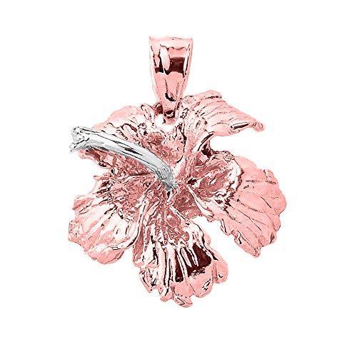 10K Or Rose massif Caraïbes Pendentif Breloque Fleur d'Hibiscus