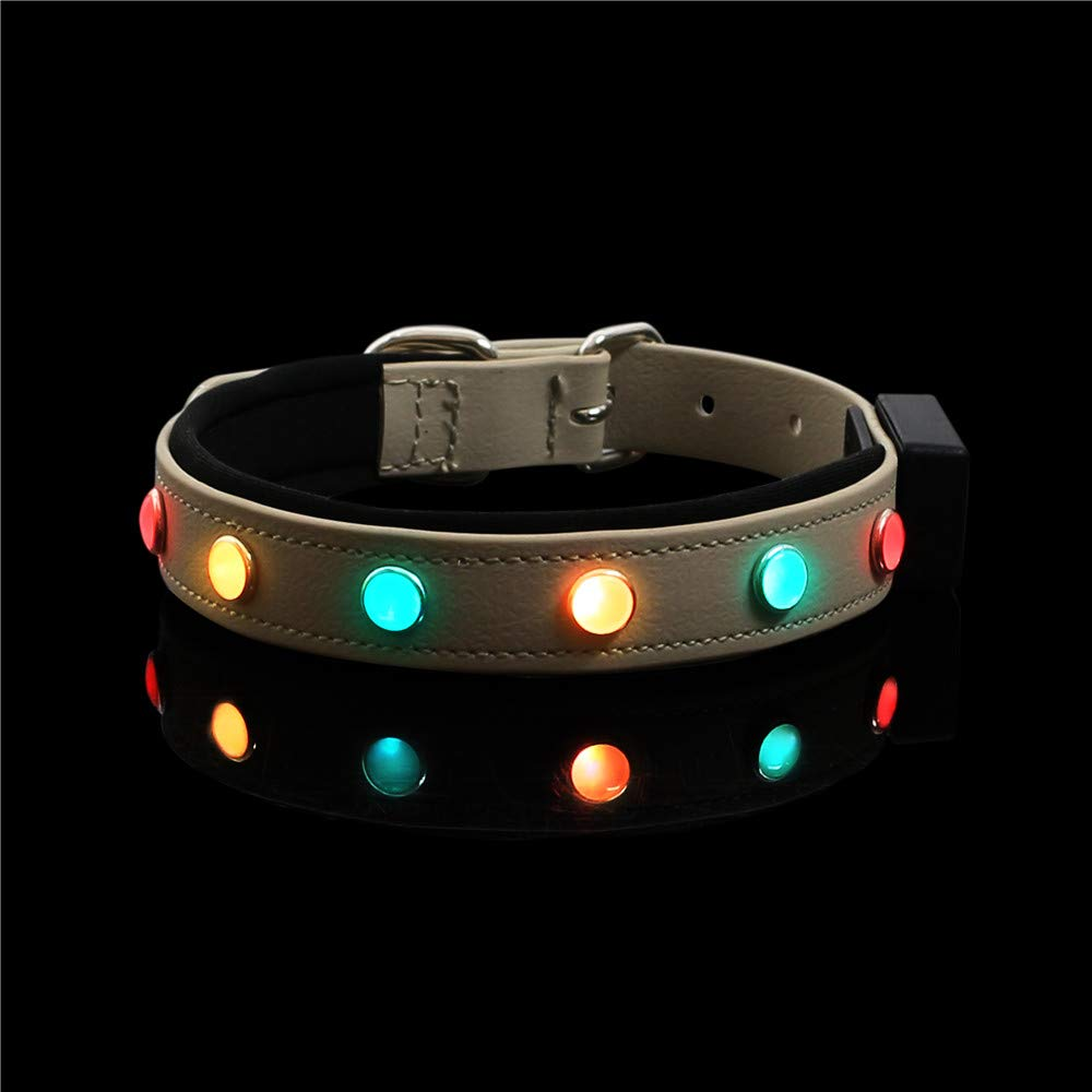Brown LED Pet Collars Night Safety USB Rechargeable Adjustable Water Resistant for Cat or Dog Brown