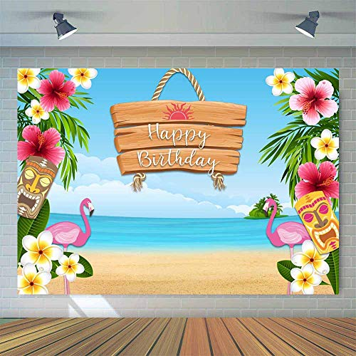 Allenjoy Summer Aloha Seaside Floral Flamingo Backdrop 7x5ft for Musical Birthday Luau Party Cake Table Decorations Banner Tropical Hawaiian Flowers Beach Baby Shower Photo Booth Background -